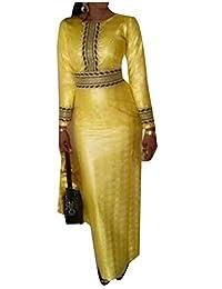 Vska Women All-Match African Dashiki Print High Waist Party Evening Dress