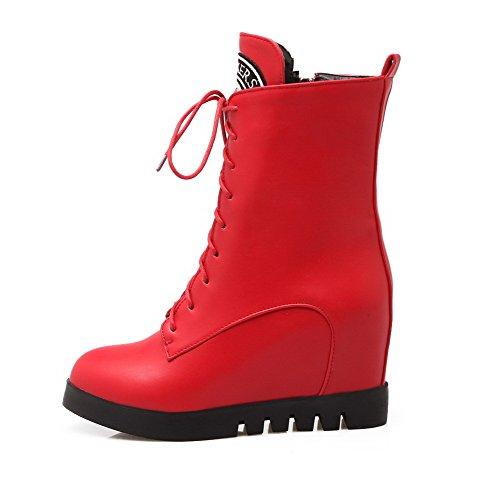 AllhqFashion Mujeres Cuña Plataforma Caña Baja Sólido Cordones Botas con Ornamento Metal Rojo