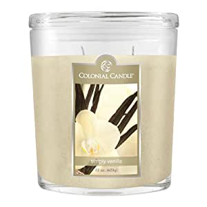 Colonial Candle 22-Ounce Scented Oval Jar Candle, Simply Vanilla