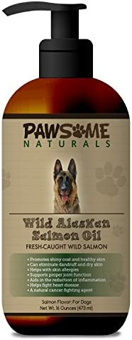 Pure Natural Wild Alaskan Salmon Oil For Dogs Liquid Supplement Rich in Omega-3-6 Fatty Acids EPA DHA . Supports Healthy Skin, Coat, Heart and Joint Function and Boosts The Immune System – 16 OZ