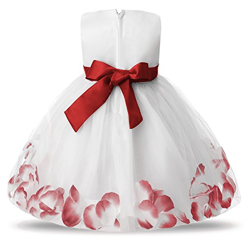 d8e0b99c5f5 NNJXD Girl Tutu Flower Petals Bow Bridal Dress for Toddler Girl Size(S) 4