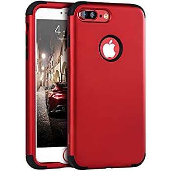 iPhone 7 Plus Case Red, iPhone 7 Plus Case, BENTOBEN Slim Shockproof 3 in 1 [Hard PC + Soft Silicone] Hybrid Coated Impact Resistant Full-Body Protective Cover Case for iPhone 7 Plus (5.5 inch), Red