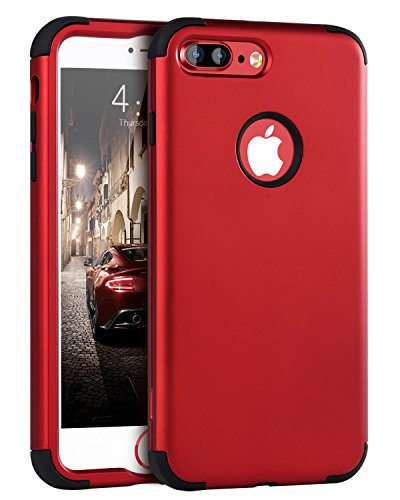 iPhone 7 Plus Case, iPhone 7 Plus Cover, BENTOBEN Shockproof 3 in 1 Slim [Hard PC + Soft Silicone] Hybrid Impact Resistant Full-Body Protective Cover Case for iPhone 7 Plus (5.5 inch), Red