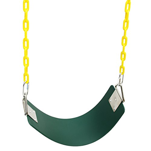 Langxun Green Heavy Duty Swing Seat with 60 Inch Upgraded Fully Coated Water Resistant Chain for Children Indoor Outdoor Swing Set - Birthday Gifts, Thanksgiving gifts and Christmas Gifts for Kids