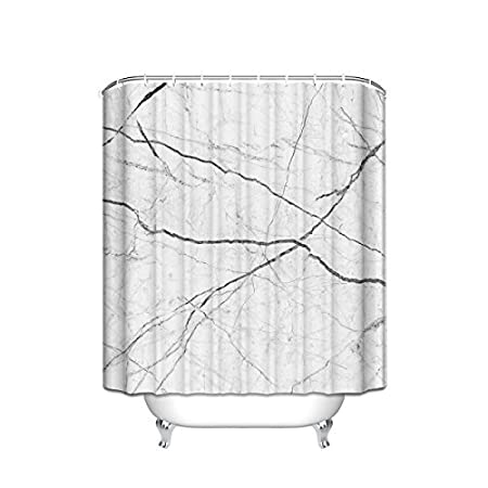 Extra Long Shower Curtain Unusual Curtains Length Black White Cracked Marble Pattern