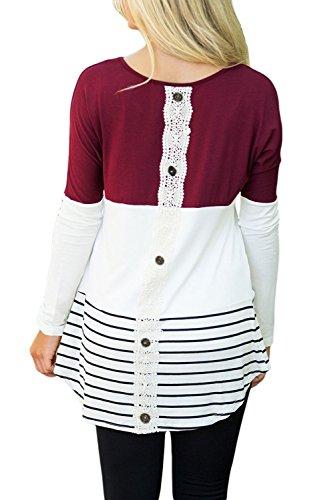Nuovo da donna bordeaux & bianco manica lunga finta abbottonatura posteriore estate abbigliamento casual Wear Club Wear taglia S UK 10EU 38