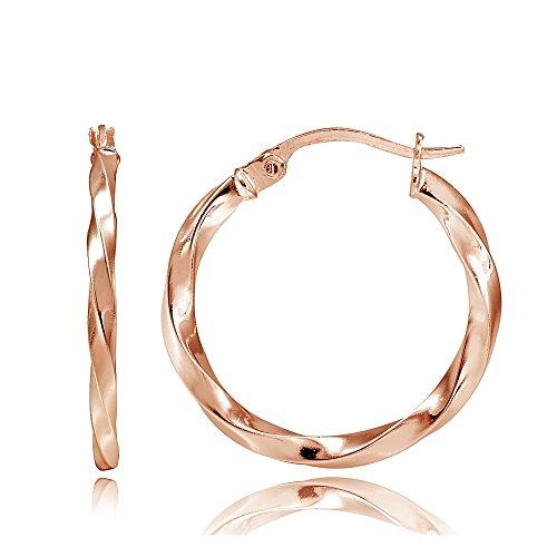 (Hoops & Loops Flash Plated Rose Gold Sterling Silver 2mm Twist Round Hoop Earrings, 20mm)