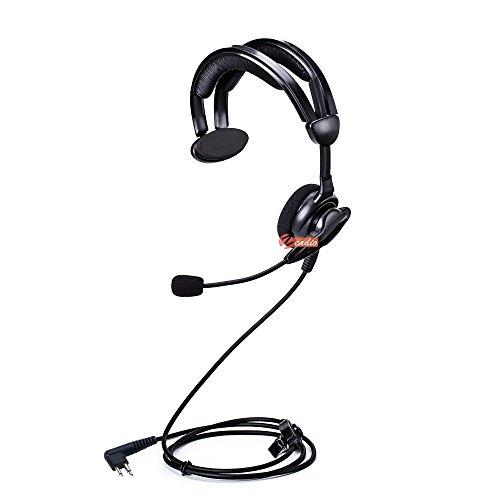 (Zeadio On-Ear Earpiece Headset with Swivel Boom Microphone for 2 PIN Motorola Walkie Talkie Two-way Radio)