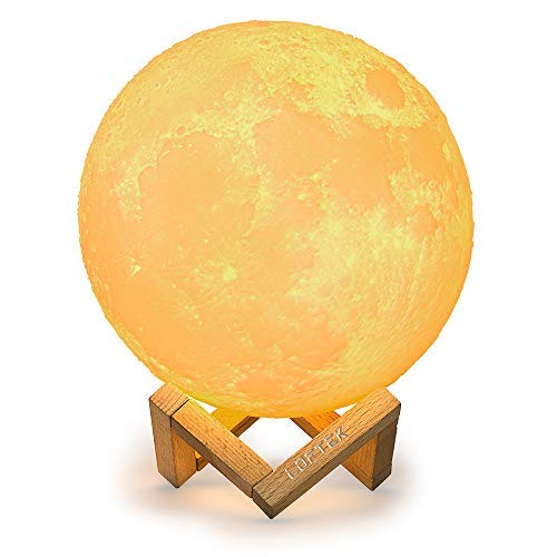 LOFTEK Moon lamp, 3D Printing 7.1 inch Full Seamless Moon Lights with Touch Control and USB Recharging, Global Moon Decor & Magical Night Lights As Best Gifts Choice for Kids, Lovers (Warm & Cool)