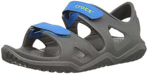 Crocs unisex-kids Swiftwater River Sandal Sandal, Slate Grey/Ocean, 12 M US Little Kid