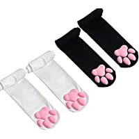 Pink Cat Paw Pad Thigh High Socks Cute 3D Kitten Claw Stockings for Girls Women Lolita Cat Cosplay (Black-Pink and White…
