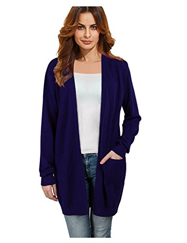 A Blues Man Womens Casual Long Sleeve Open Front Thick Cardigan Sweater Navy Blue XXL