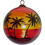 Hawaiian Sunset Ornament Hand Painted Glass with Gift Box