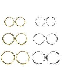 Stainless Steel Round hoop Earrings Cuff Ring Piercings Ear Chunky Hoop Huggie Dainty Thick Stud for Women Men 6pairs