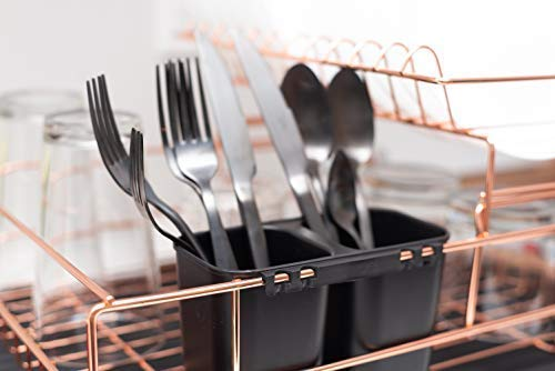 Amazon.com: Copper Drying Rack, 2 Tier Dish Drying Rack - Large Dish Rack and Drainboard Set, Dish Drainers for Kitchen Counter- Rose Gold Dish Drying Rack ...