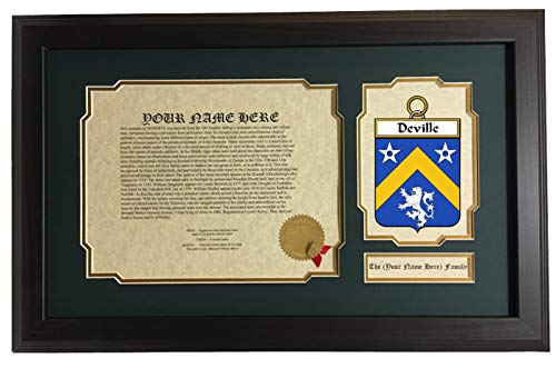 Deville - Coat of Arms and Last Name History, 14x22 Inches Matted and Framed