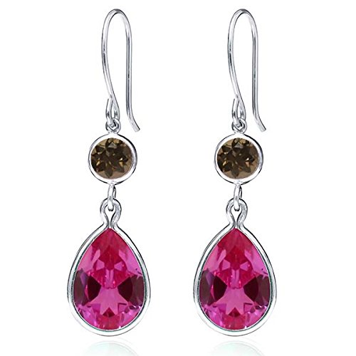 Gem Stone King 12.30 Ct Pink Created Sapphire Brown Smoky Quartz 925 Sterling Silver Earrings