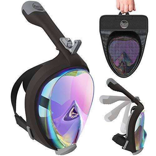 (Aleoron - Full Face Snorkel Mask Foldable UV Easybreath - 2.0 Panoramic 180 Seaview Snorkeling Mask with Action Camera Mount – Scuba Mask Anti Fog for Adults & Youth (Women & Men))