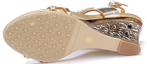 Salabobo L013 Womens Roman Rhinestone Comfort Weddge Sandals Glaring Beautiful Pretty Performance Wedding Dress Bride Bridemaid Party Work Job Leisure Shoes Gold(wedge) ewn4K0hNI1