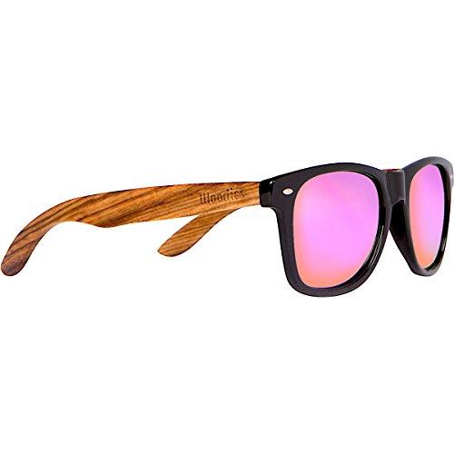 WOODIES Zebra Wood Sunglasses with Pink Mirror - Sunglasses Zebra Woodies Wood
