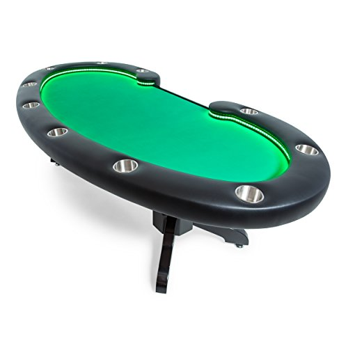 BBO Poker Lumen HD Lighted Poker Table for 10 Players with Green Felt Playing Surface, 101.5 x 46-Inch Oval by BBO Poker
