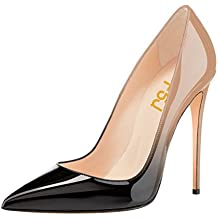 FSJ Women Fashion Pointed Toe Pumps High Heel Stilettos Sexy Slip On Dress Shoes Size 12 Black-Nude