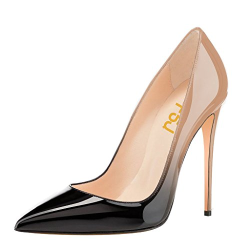FSJ Women Fashion Pointed Toe Pumps High Heel Stilettos Sexy Slip On Dress Shoes Size 7 Black-Nude