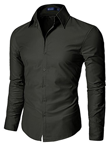 Non Iron Twill Stripe Dress Shirt (Doublju Mens Dress shirts with Shinning Fabric CHARCOAL)