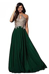 Lily Wedding Womens Halter Gold Applique Prom Bridesmaid Dresses 2019 Long Chiffon Evening Formal Gown