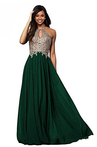 Lily Wedding Womens Halter Gold Applique Prom Bridesmaid Dresses 2018 Long Chiffon Evening Formal Gowns P199 Emerald Green Size (Halter Wedding Gown Dress)