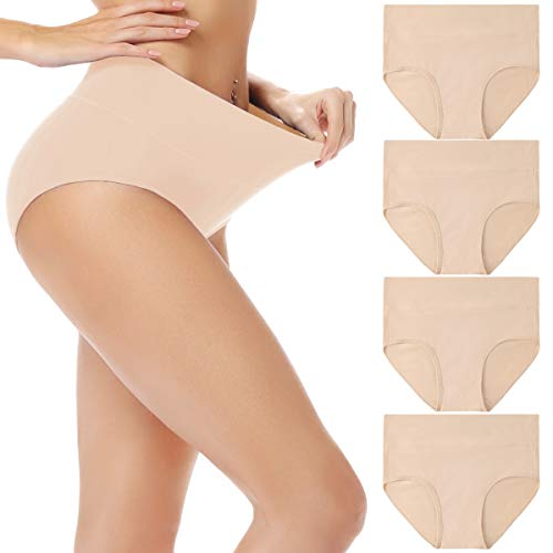cassney Womens Underwear High Waist C Section Panties Womens Cotton High Waist Full Coverage Brief Panty (Beige-4 Pack, Large)