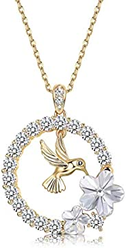 Sllaiss 18K Gold Plated Hummingbird Pendant Necklace for Women Circle Necklace, Crystals from Swarovski, for G