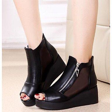 La mujer Primavera sandalias de tacón cuña Casual PU Confort negro Black