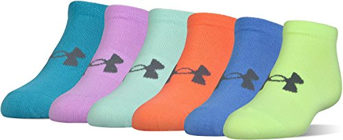 Under Armour Girls Essential No Show Socks (6 Pack), X-ray Yellow, Youth Large