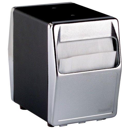 Traex 6509-06 Blk/Chrome 2-Sided Tabletop Napkin Dispenser