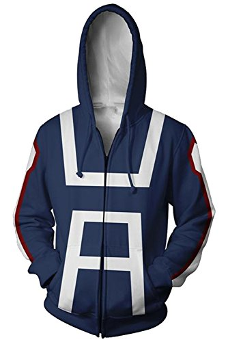 NoveltyBoy Boku No Hero Academia My Hero Academia Izuku Midoriya Cosplay Costume Training Suit Jacket Unisex Hoodies (Blue, Medium)