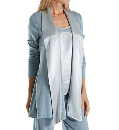 PJ Harlow Women's Shelby Lounge Jacket, Morning Blue, Small (Supima Ribbed)