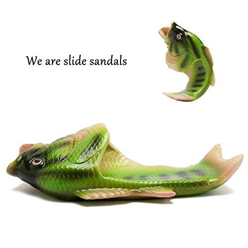 Equick Unisex Antideslizante Fish Slippers Beach Slip On Open Toe Slide Sandalias De Animales Para Mujeres Hombres Niños Verde