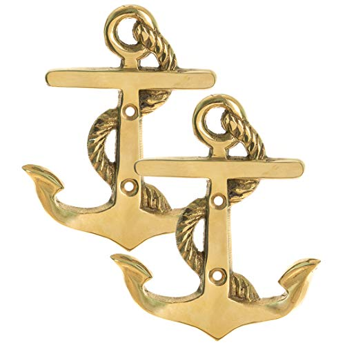 Nautical Crush Trading Anchor Wall Hooks | Brass Anchor Wall Hooks | Perfect for Beach Décor TM (Two Hook) ()