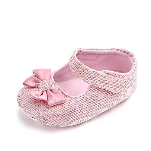 Baby Girls Christening Shoes Rose Lace Flowers Bow Soft Sole Newborn Princess Shoes (13cm(12-18months), Pink-1)