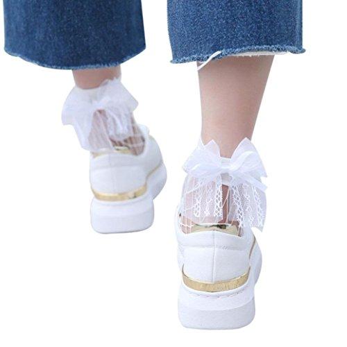 (Kshion Women Ruffle Fishnet Ankle High Socks Mesh Lace Bow-Knot Short Socks (White))
