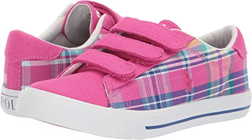 Polo Ralph Lauren Kids Girl's Easten II EZ (Little Kid) Sport Pink/Madras Plaid/Canvas/White Pony 11 M US Little Kid