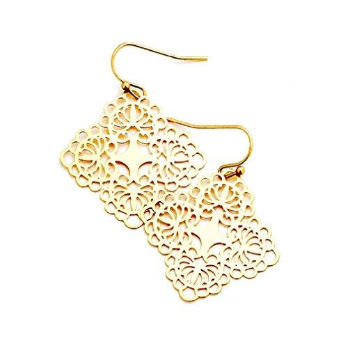 Uniklook Women's Chic Metal Lace Filigree Bohemian Boho Hook Earrings Fashion Jewelry (Matte Gold)