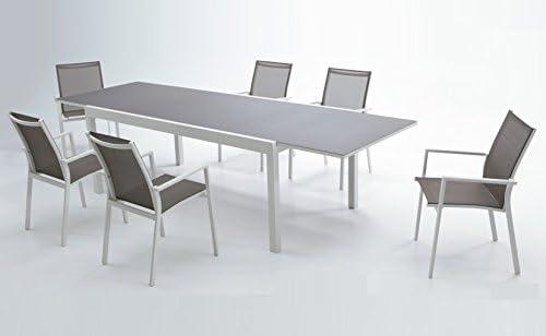 Conjunto de terraza y jardin mesa extensible aluminio blanco cristal Cafe Sky: Amazon.es: Jardín