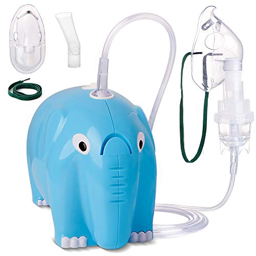 Cartoon Elephant Cool Mist Inhaler Compressor System Machine Quiet Low Noise Cute Design for Child with Tubing Kit