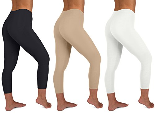 - Sexy Basics Womens 3 Pack Active Yoga Workout Capri Cropped Cotton Stretch Leggings (XL, 3 PK-Black HAZLENUT White)