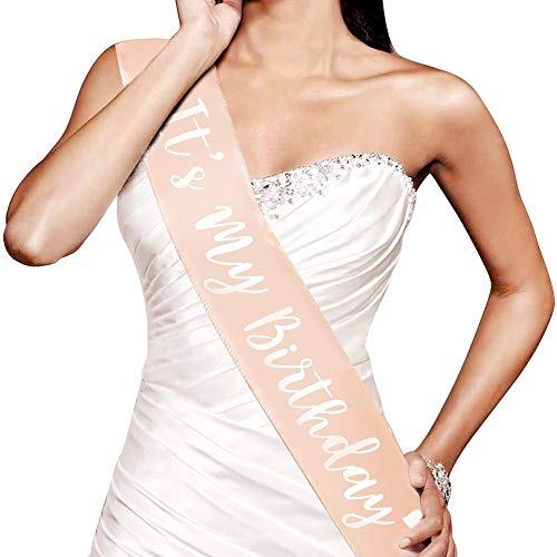 (Konsait Rose Gold Birthday Sash Its My Birthday Satin Sash Birthday Gifts Bday Accessories Birthday Party Favors Party Supplies Decoration for Woman Girls- 16th 18th 21st 22nd 30th 40th Birthday)