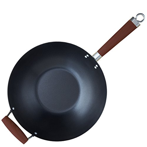 IMUSA USA GK-61029 Nonstick Coated Wok with Wood Handles 14-Inch, Black