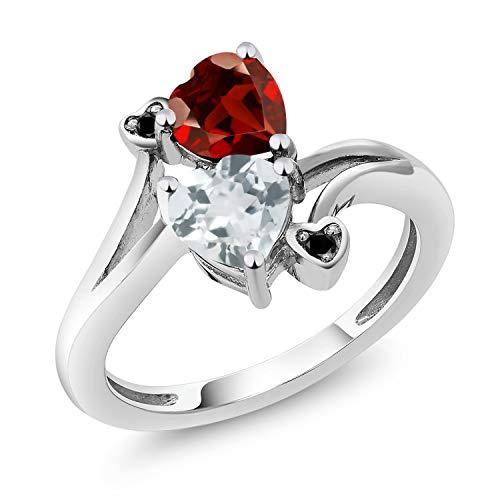Gem Stone King 1.60 Ct Heart Shape Sky Blue Aquamarine Red Garnet 10K White Gold Diamond Ring (Size 6)