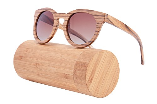 Handmade Wood Frame Sunglasses Retro Vintage Wooden Glasses Polarized with Bamboo Case- Z6011(zebra,gradient - Sunglasses Case Wooden